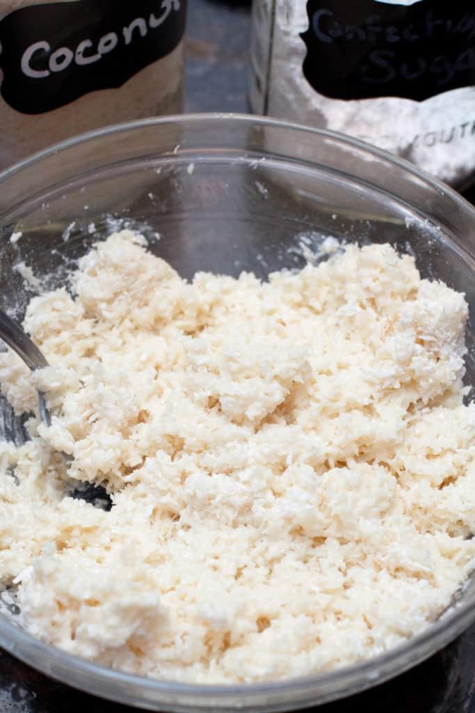 bowl of coconut and sugar mixed