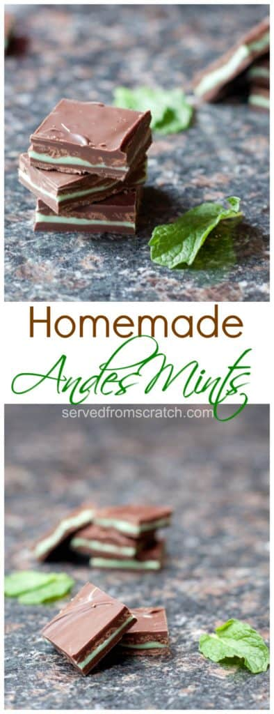 staacked andes mints on a counter