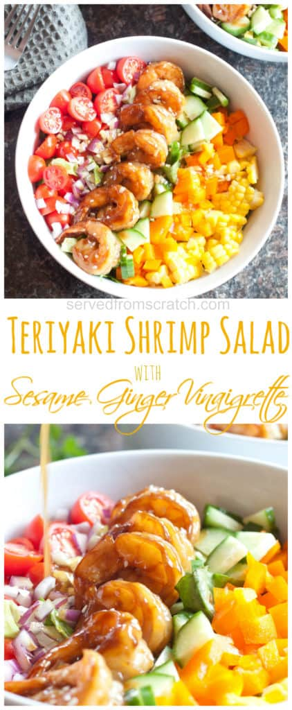 two salad bowls of teriyaki shrimp and chopped raw veggies
