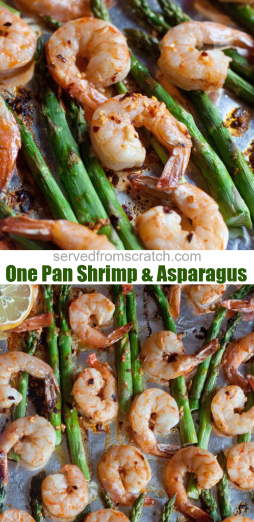 a close up of cooked shrimp and asparagus on a baking sheet and pinterest text.