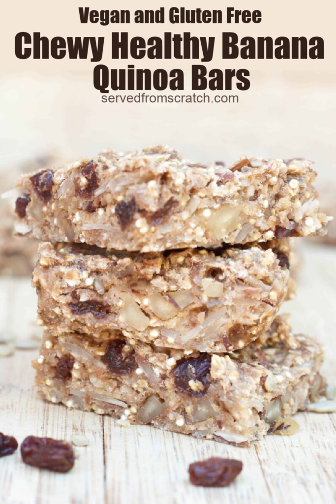 stacked chewy quinoa bars with raisins with Pinterest pin text.