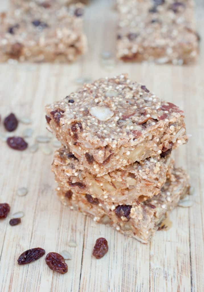 These Chewy Banana Quinoa Bars are packed full of nutrition and flavor but free from sugar and peanuts while being vegan and gluten free! Perfect for growing little ones!