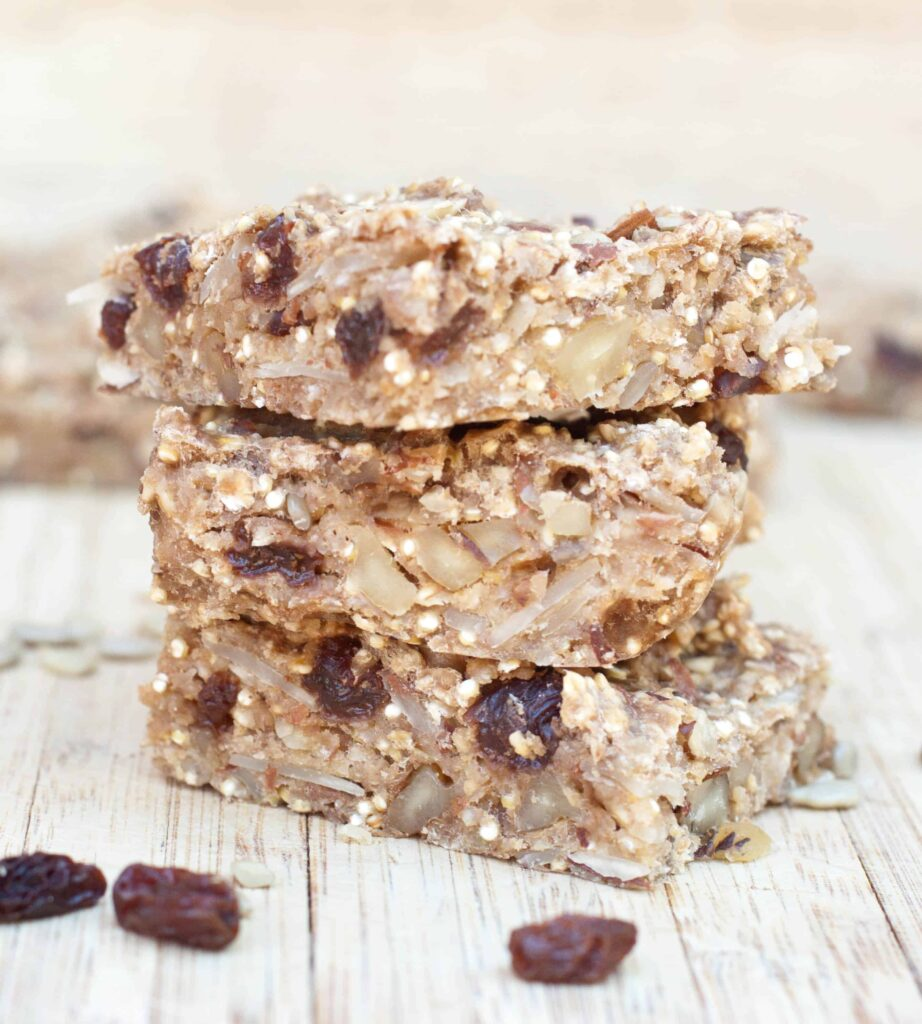 stacked chewy raisin quinoa banana bars