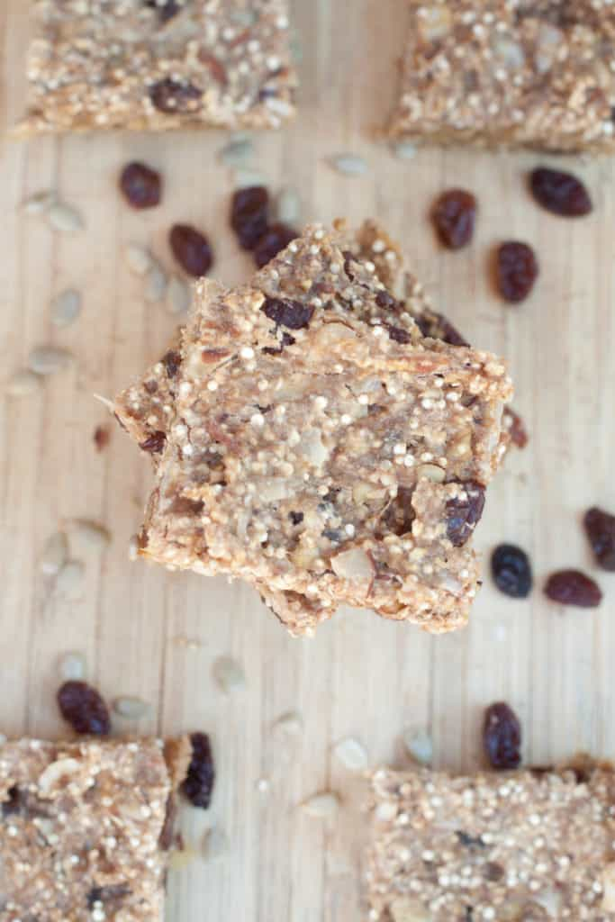 overhead of quinoa bars with raisins