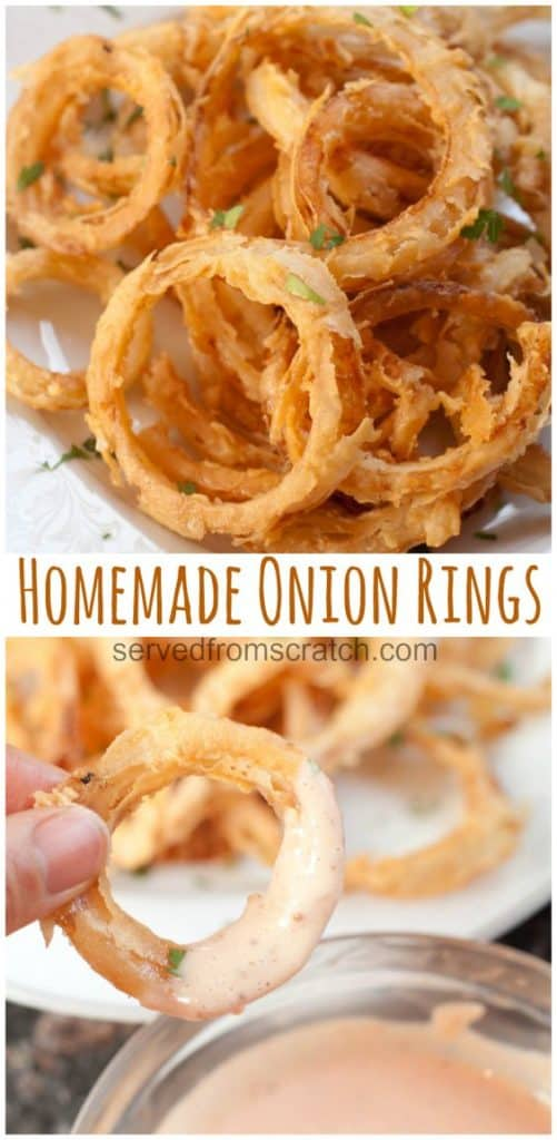 Crispy Homemade Onion Rings are the perfect appetizer or accompaniment to any burger or sandwich! #onionrings #crispy #easy #fried