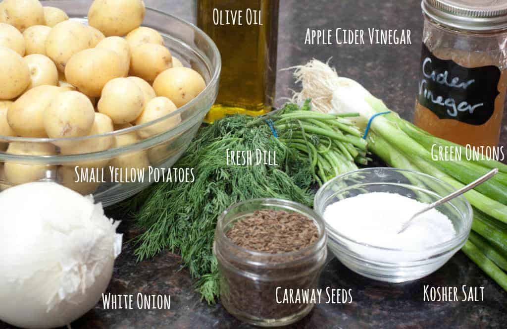 ingredients for german dill potato salad on counter