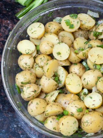 potato salad without mayonnaise topped with dill in a bowl