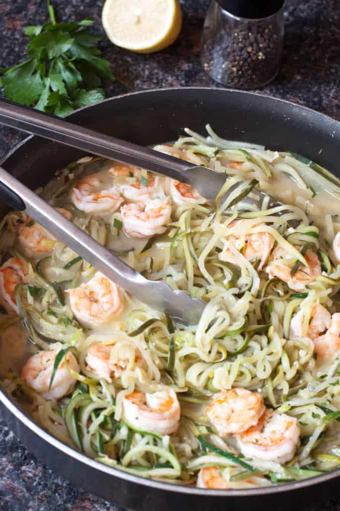 "Cut the carbs and make ""Zoodles"" with some fresh zucchini for this healthy, fast, and easy Shrimp Zoodle Scampi!"