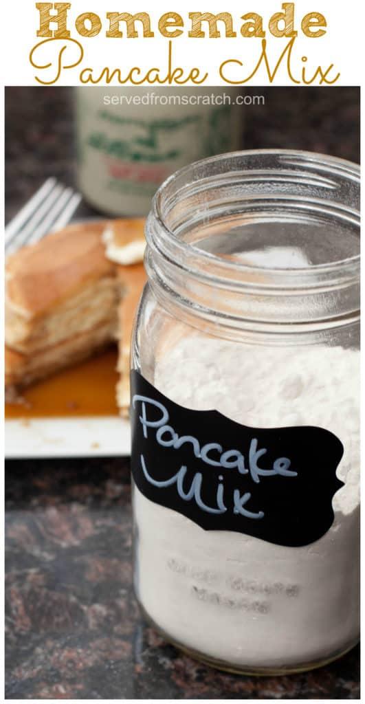 a jar of pancake mix in front of pancakes