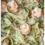 "Watching carbs? Then make ""Zoodles"" with some fresh zucchini for this healthy, fast, and easy Shrimp Zoodle Scampi! #shrimpscampi #recipe #easy #zoodles #glutenfree"