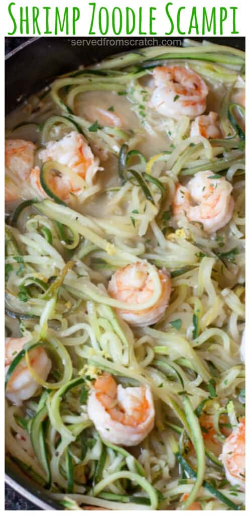 """Watching carbs? Then make """"Zoodles"""" with some fresh zucchini for this healthy, fast, and easy Shrimp Zoodle Scampi! #shrimpscampi #recipe #easy #zoodles #glutenfree"""