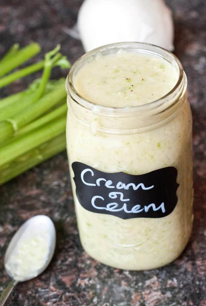 a large mason jar of cream of celery soup