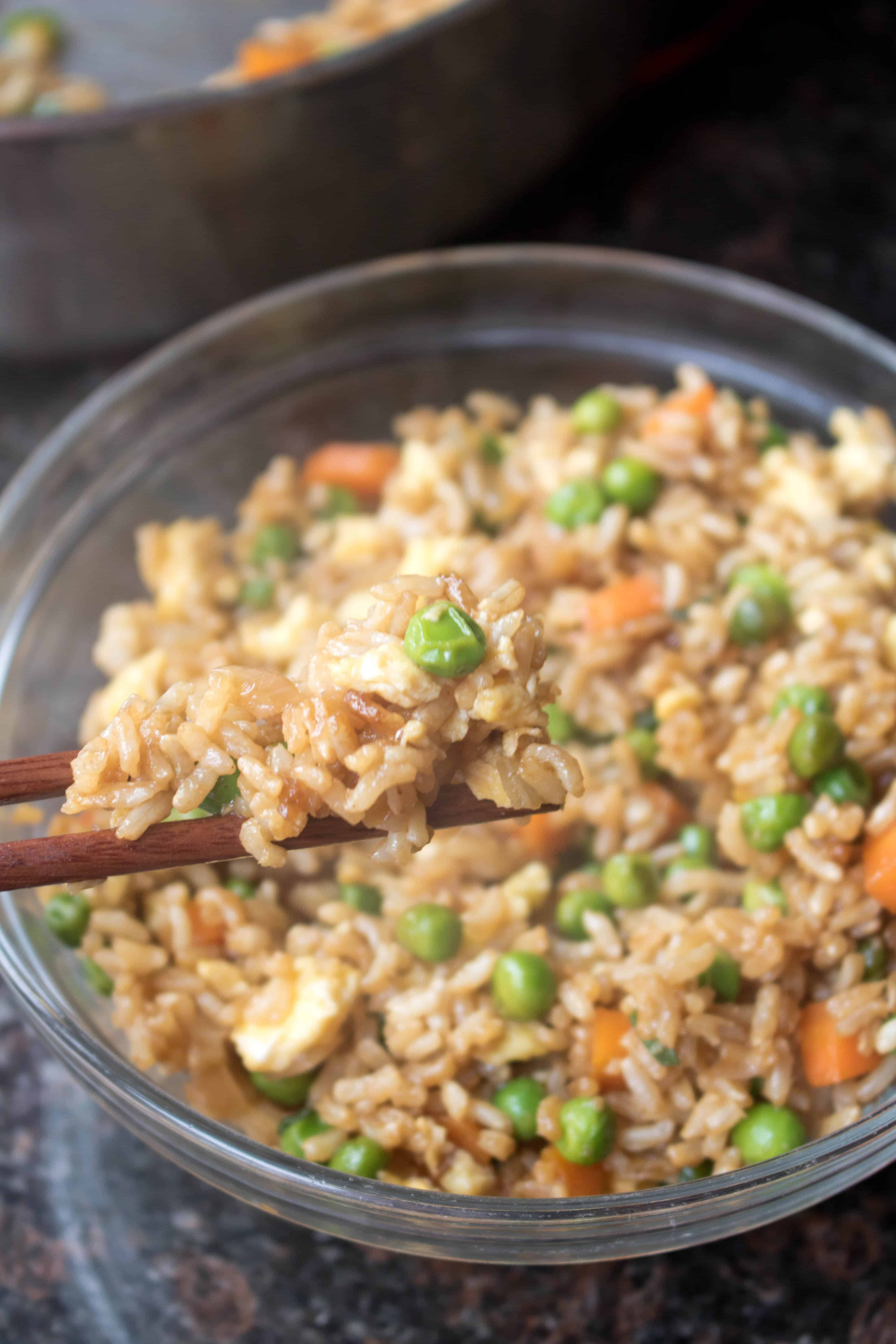 Super easy vegetarian fried rice served from scratch skip the take out and make your own quick flavorful and healthier super easy ccuart Choice Image