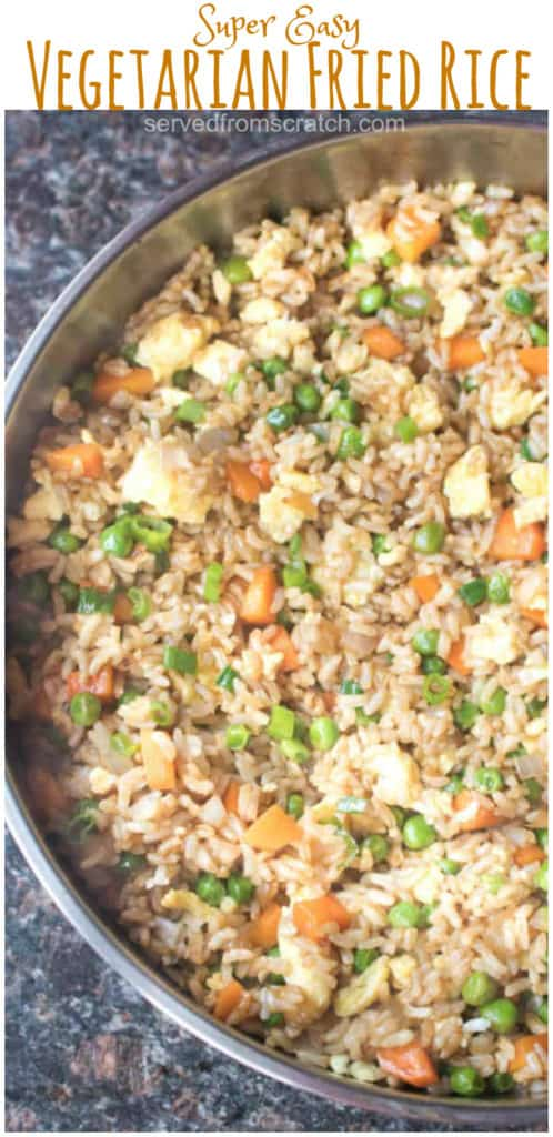 a pan of fried rice with Pinterest pin text.