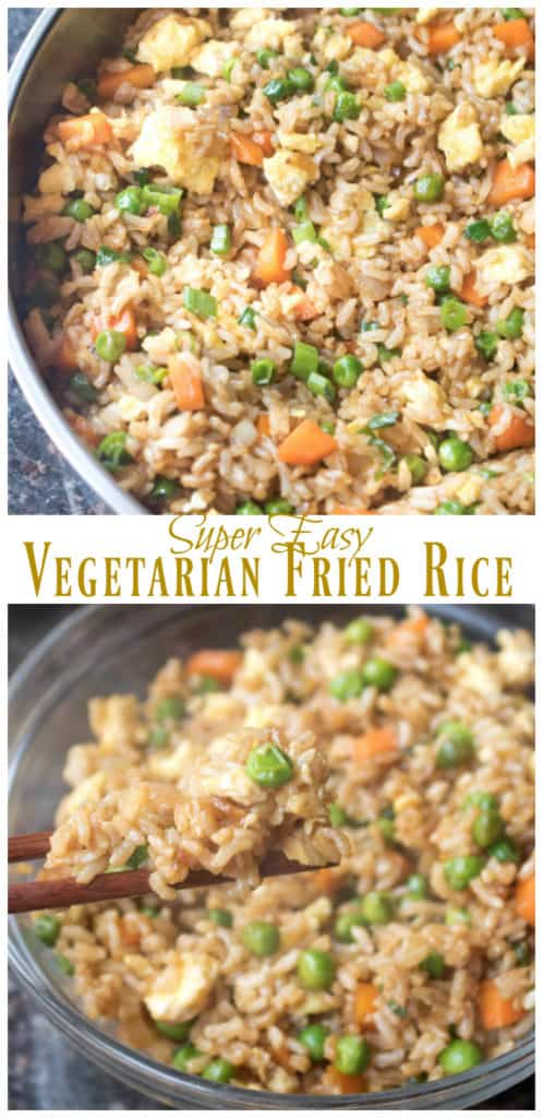 a pan of fried rice and chopsticks holding it up with Pinterest pin text.