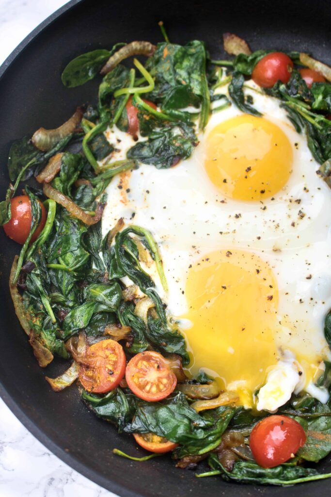 Start your day with this incredibly healthy, savory Turmeric Spinach and Eggs breakfast!