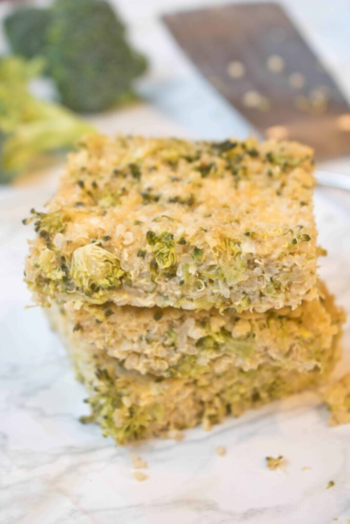 These Broccoli Cheddar Quinoa Bars are toddler tested and loved and are filled with tons of broccoli and protein, fiber rich quinoa so they're Mom approved, too!