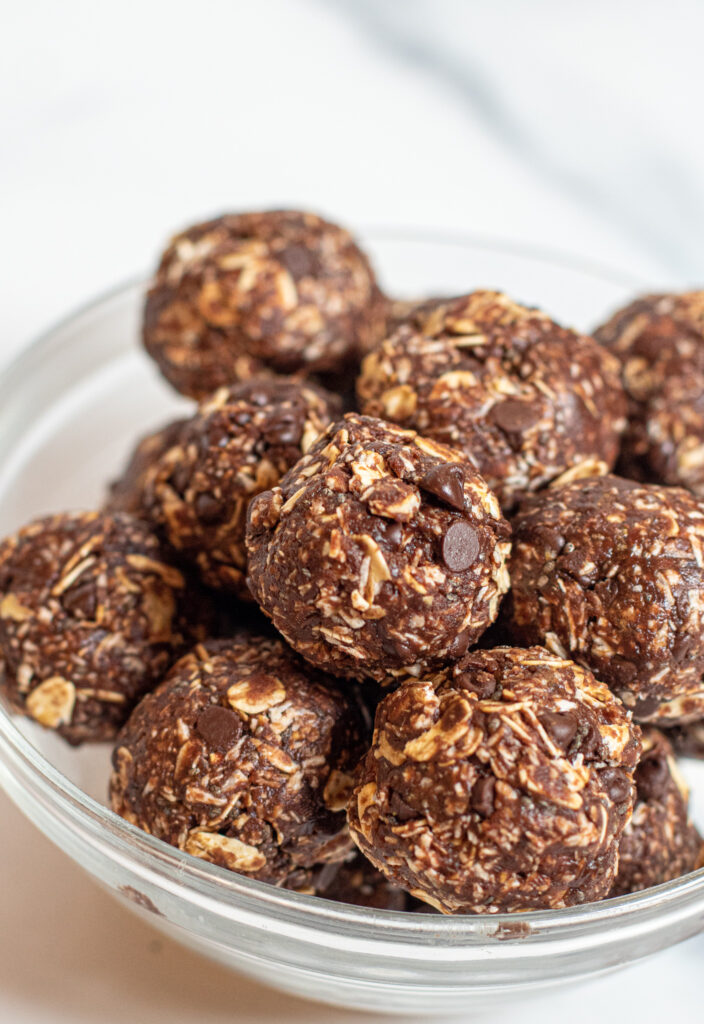 a bowl of chocolate energy balls
