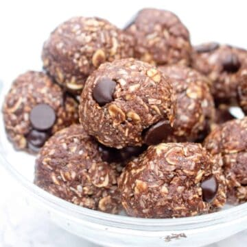 chocolate peanut butter energy balls in a bowl.