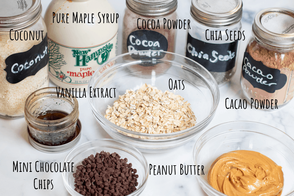 oats, chocolate chips, peanut butter, cocoa powder, cacao powder, maple syrup, chia seeds, coconut, vanilla extract.