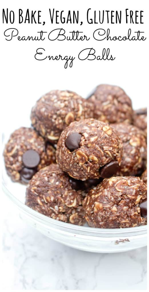chocolate peanut butter energy balls in a bowl