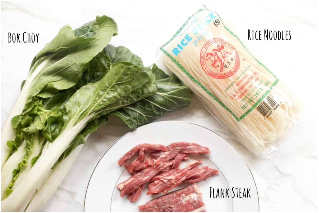 bok choy, raw beef, and rice noodles