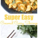 This Super Easy Coconut Curry Shrimp is full of flavor, has a great spicy kick, and is easy and simple enough for a weeknight meal! #shrimp #easy #recipe #thai #coconutshrimpcurry #curry