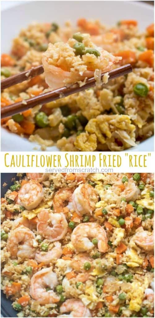 cauliflower rice with shrimp and chopsticks with Pinterest pin text.