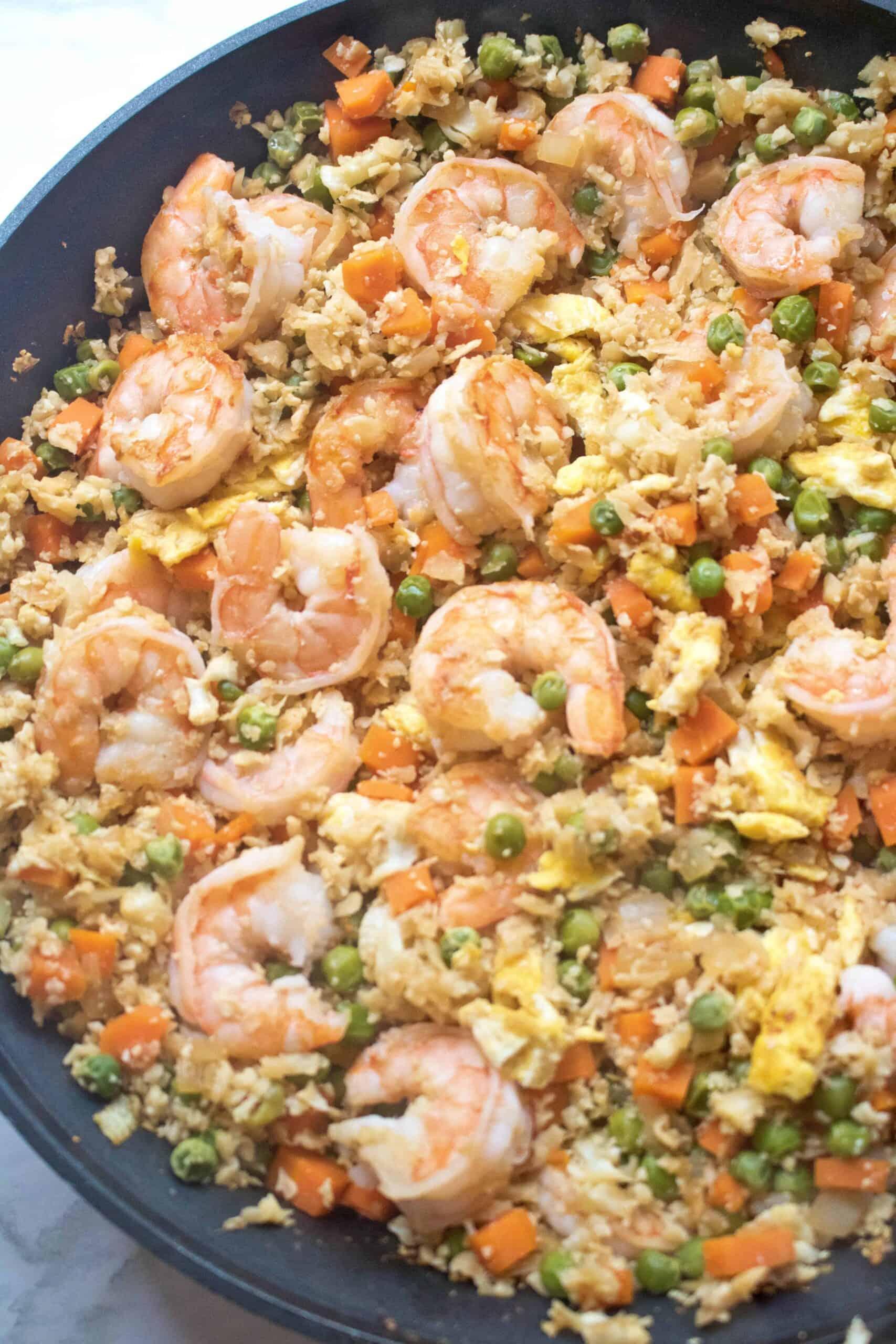 """Cauliflower Shrimp Fried """"Rice"""""""