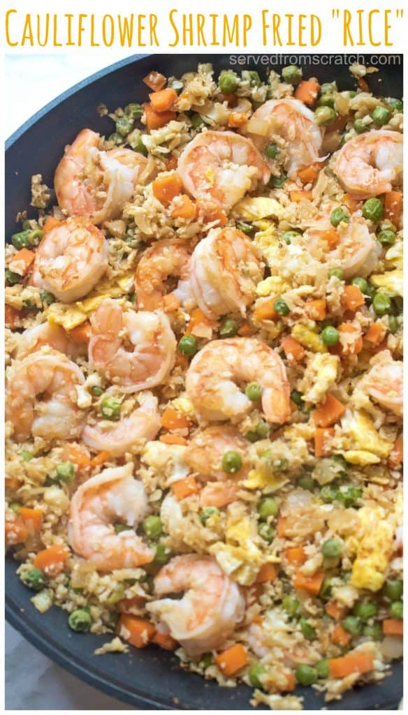 "Watching your carbs? Then this Cauliflower Shrimp Fried ""Rice"" is the perfect, healthy, quick and easy meal that'll satisfy that fried rice craving, without the rice! #cauliflowerfriedrice #recipe #easy #shrimp"