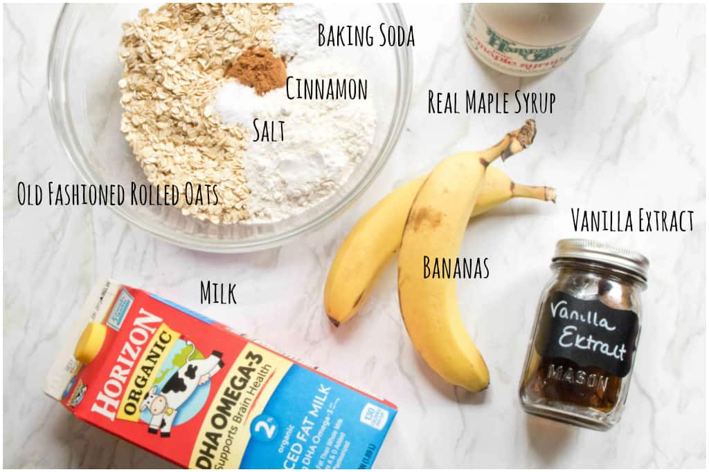 ingredients for banana oat muffins out on counter