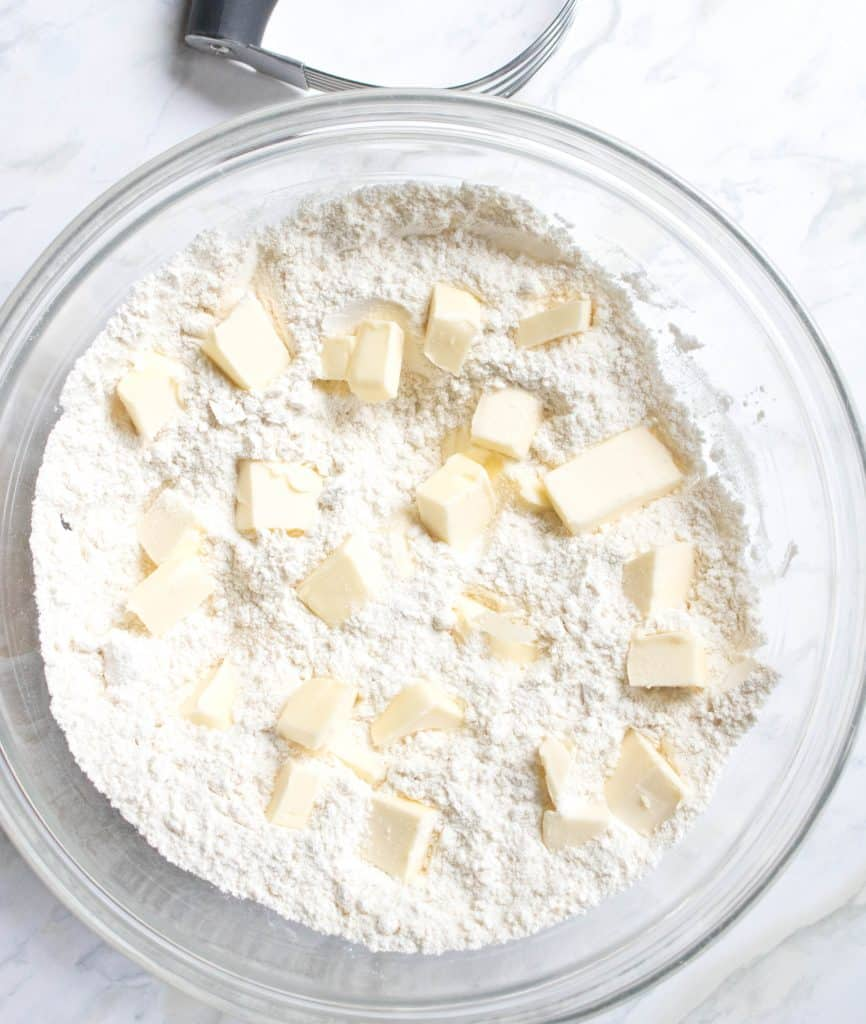 bowl of flour and cubed butter