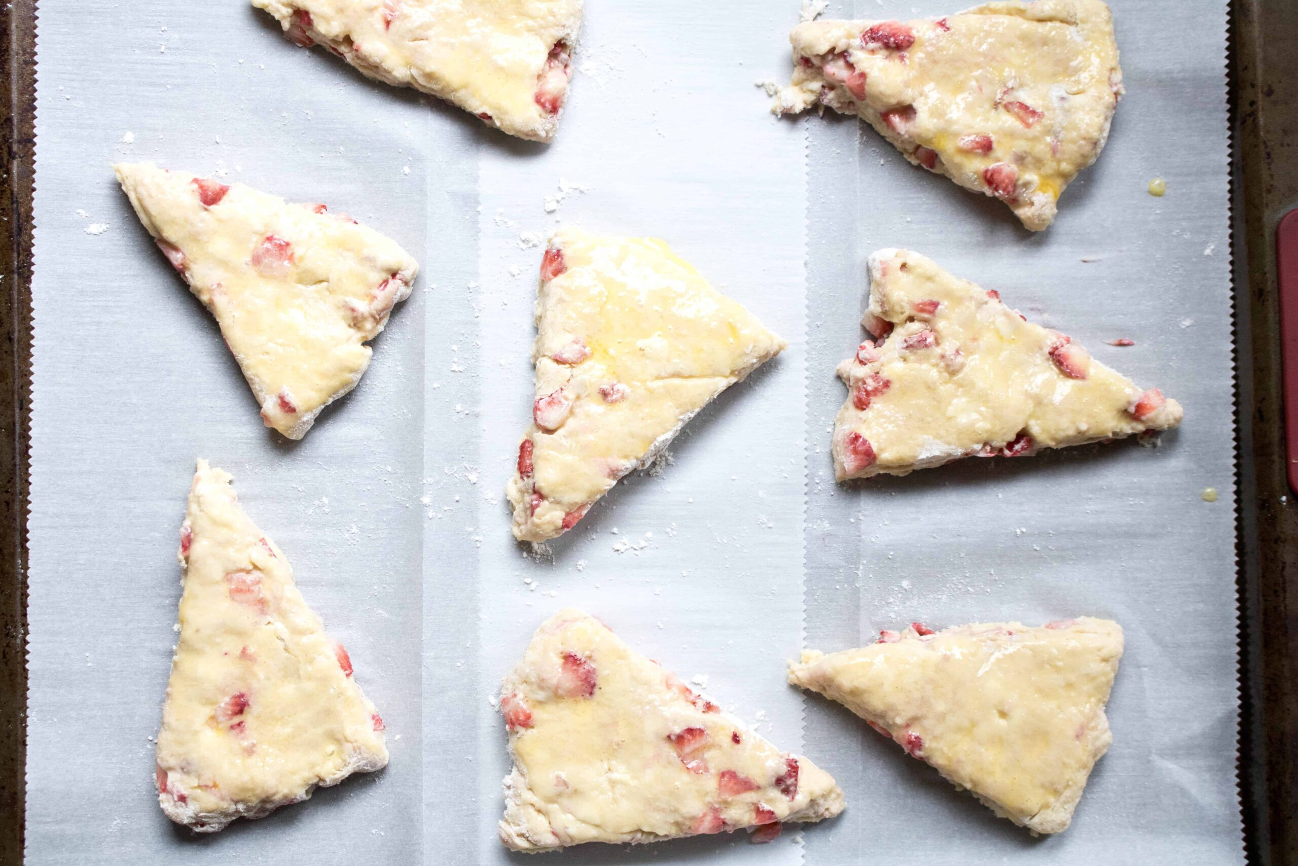 These Strawberries and Cream Scones are perfect for any brunch and to celebrate all of those gorgeous summer strawberries!