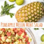 This Pineapple Melon Mint Salad is super refreshing, delicious, and is perfect for all those summer backyard get-togethers! #pineapplemelon #mintsalad #fresh #healthy #recipe #easy #vegan #glutenfree