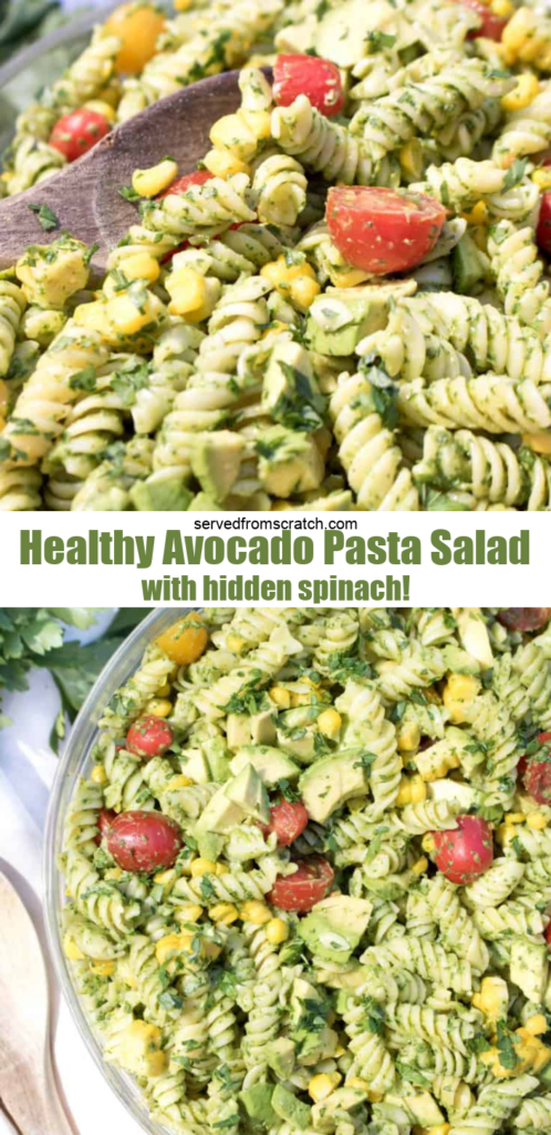 wooden spoon in a large bowl of green pasta salad with Pinterest pin text.