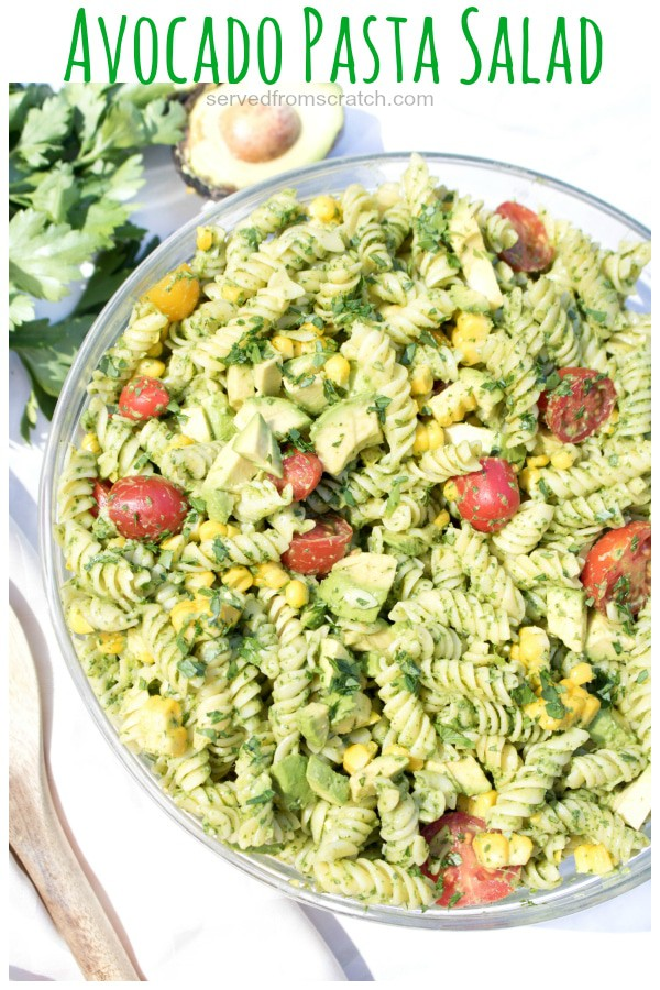 an overhead of green avocado salad with Pinterest pin text.