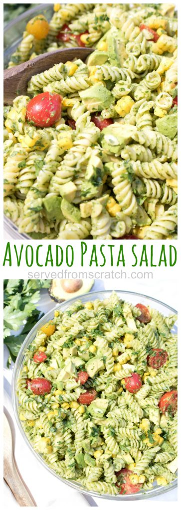 bowl of green pasta salad with a wooden spoon and overhead of a bowl of green pasta salad with tomatoes and corn and Pinterest pin text.