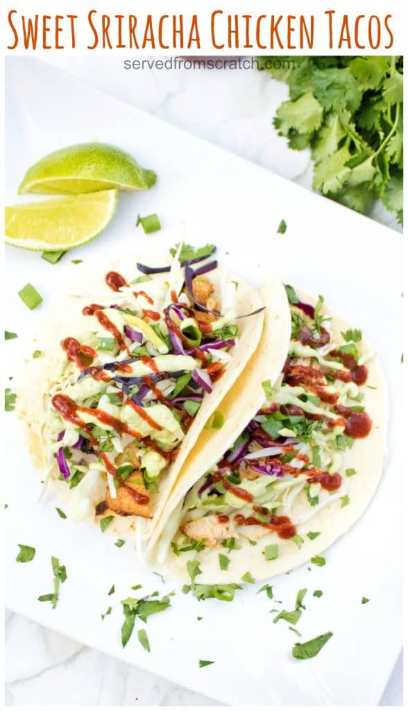 Try a new twist on your tacos by balancing sweet and spicy with one of our new favorites: Sweet Sriracha Chicken Tacos! #chickentacos #recipe #sriracha #easy #sweetandspicy