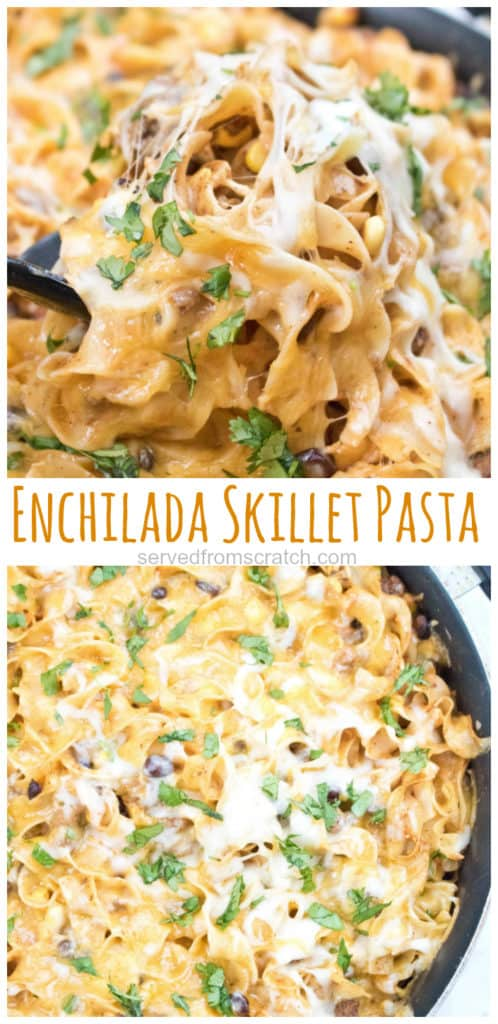 cheesy pasta in enchilada sauce scooped up