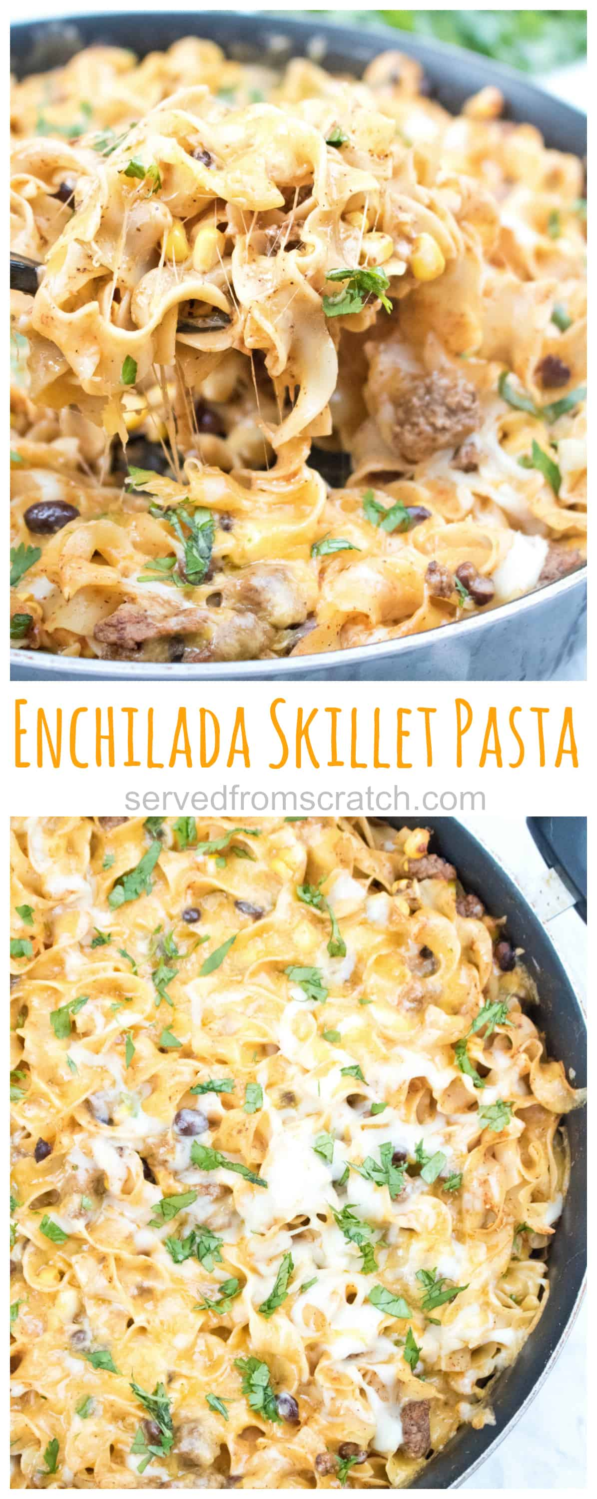 This Enchilada Skillet Pasta is loaded with flavor and cheese making it a delicious, easy and comfort food at it's finest!
