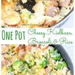 This One Pot Cheesy Kielbasa, Broccoli, and Rice is not only fast and easy to prep, make, AND clean up after, but it's a delicious weeknight dinner, too! #comfortfood #onepotmeals #cheesykielbasa #ricebroccoli #skillet