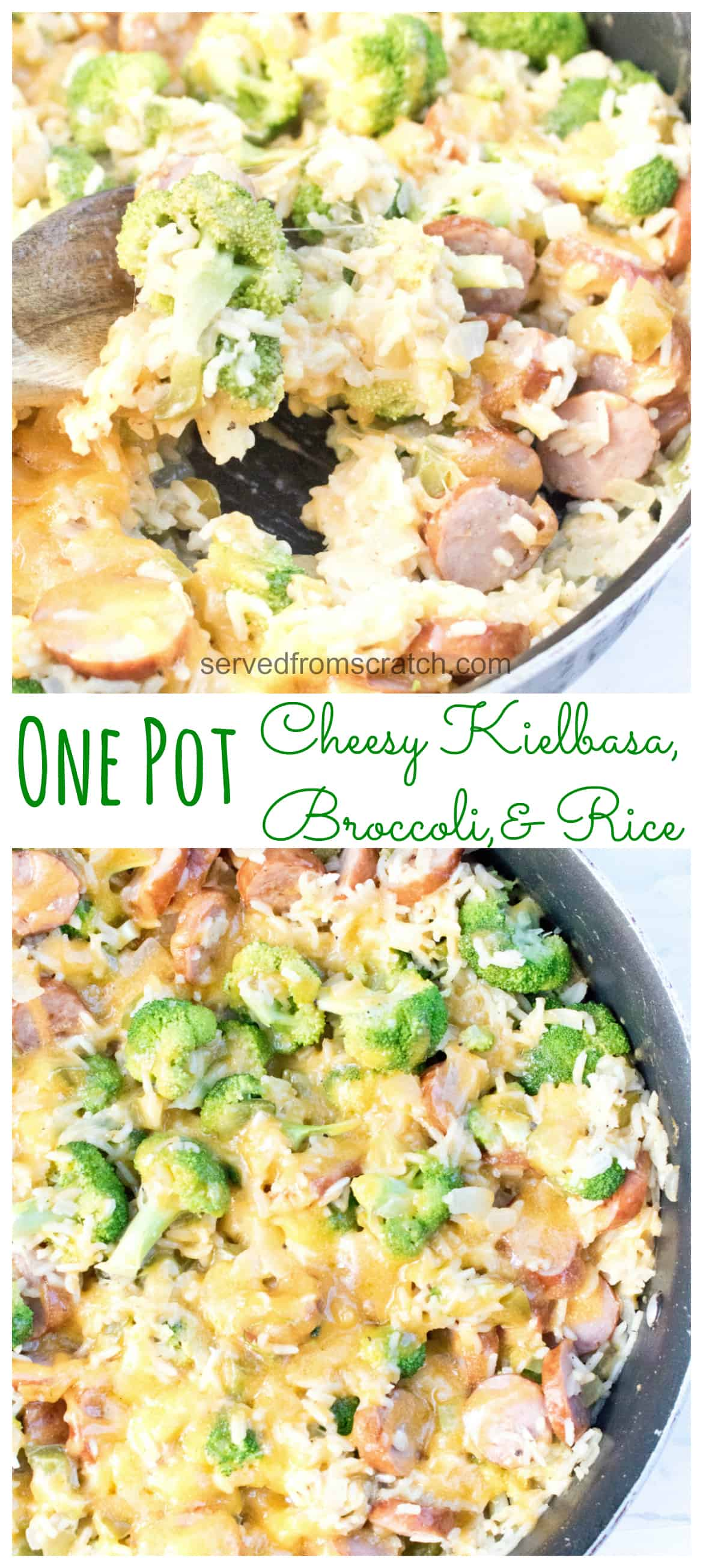 This One Pot Cheesy Kielbasa, Broccoli, and Rice is not only fast and easy to prep, make, AND clean up after, but it's a delicious weeknight dinner, too!