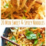 These Sweet and Spicy Noodles are a Thai inspired fast, easy weeknight dinner that can be ready and on the table in just 20 minutes! #thainoodles #asian #recipes #sweetandspicy