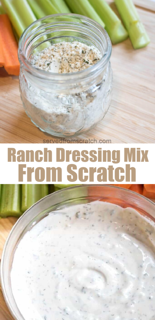jar with dry ranch mix in front of carrots and celery with PInterest Pin text.