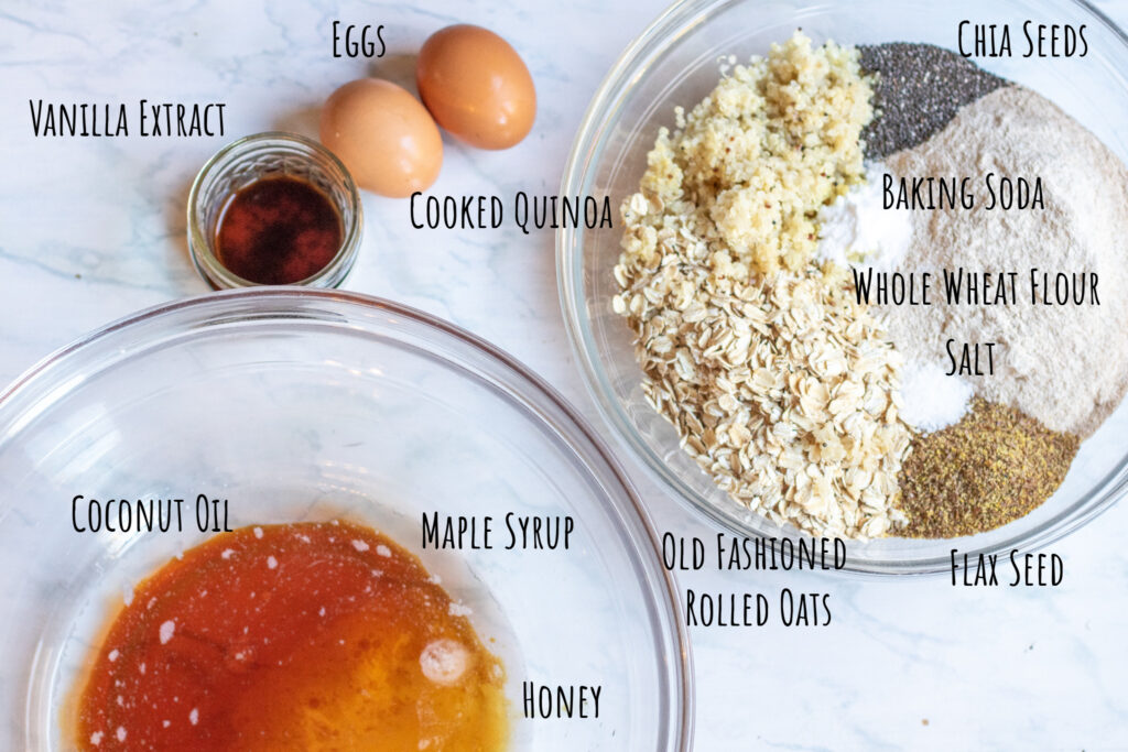 eggs and extract on counter with two large bowls of liquid and flour, oats, and seeds