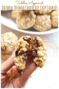 These Oatmeal Quinoa Chocolate Chip Cookies are toddler friendly, mom approved cookies that are packed full of nutrition but satisfy a craving for a big soft chocolate chip cookie!