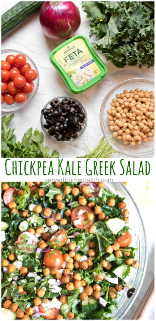 chickpeas, tomatoes, olives, kale, onion cucumber feta parsley on counter and then all in a bowl with Pinterest pin text.