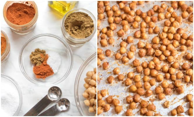 spices with teaspoons and roasted chickpeas.