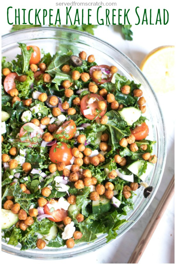 Tomatoes, Feta, olives, cucumbers, tomatoes plus kale and chickpeas. Everything you want in a greek salad but with kale, this Chickpea Kale Greek Salad is a heartier, healthier Greek salad!