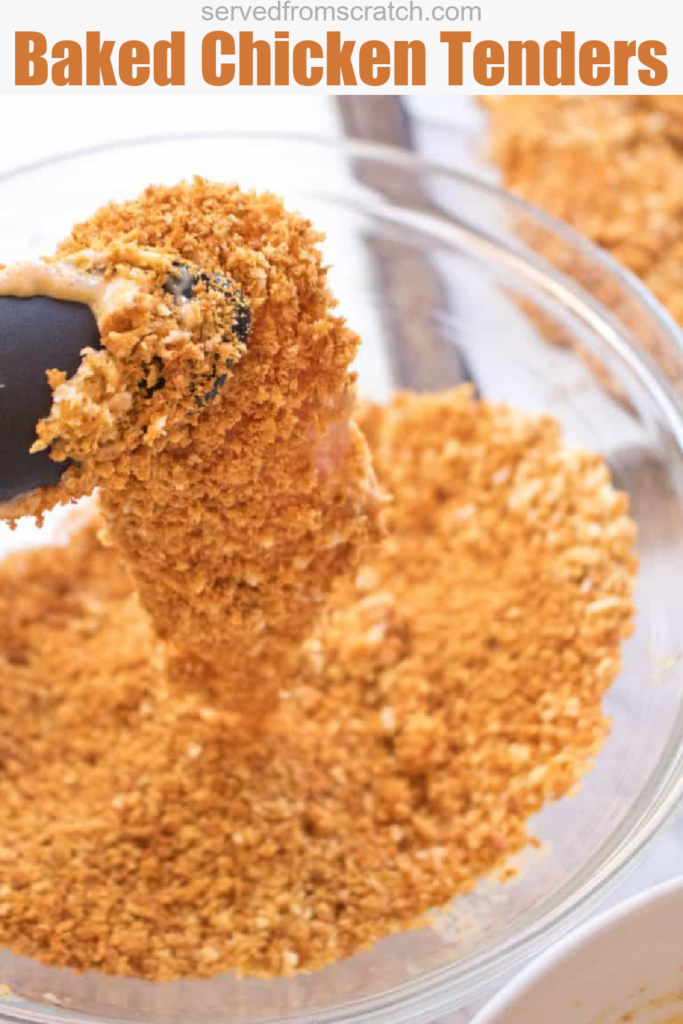 tongs holding a chicken tender coated with breadcrumbs and Pinterest text.